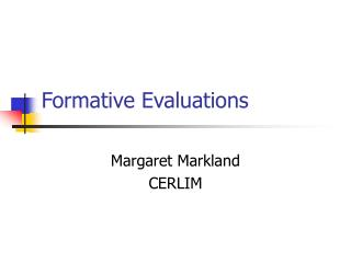 Formative Evaluations