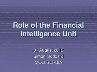 Role of the Financial Intelligence Unit