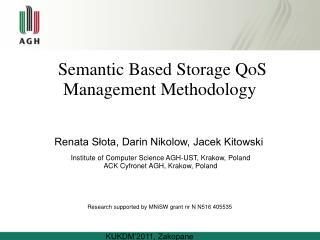 Semantic Based Storage QoS Management Methodology