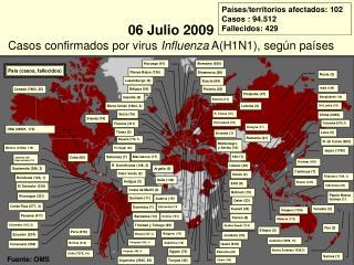 06 Julio 2009 Casos confirmados por virus  Influenza  A(H1N1), según países