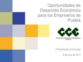 Oportunidades de Desarrollo Económico para los Emprsarios de Puebla Presentación al Consejo
