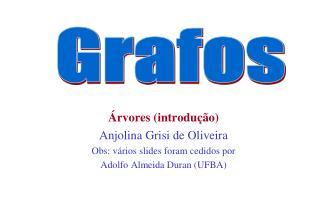 Árvores (introdução) Anjolina Grisi de Oliveira Obs: vários slides foram cedidos por