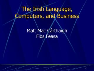 The Irish Language, Computers, and Business