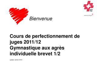 Bienvenue Cours de perfectionnement de juges 2011/12 Gymnastique aux agrès individuelle brevet 1/2
