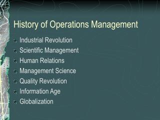 History of Operations Management