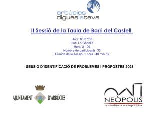 II Sessió de la Taula de Barri del Castell  Data: 08/07/08 Lloc: La Gabella Hora: 21.00