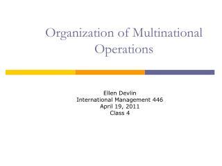 Organization of Multinational  Operations
