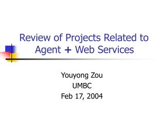 Review of Projects Related to      Agent  +  Web Services