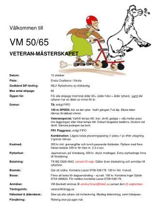 Välkommen till  VM 50/65 VETERAN-MÄSTERSKAPET