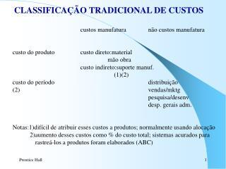 CLASSIFICAÇÃO TRADICIONAL DE CUSTOS custos manufaturanão custos manufatura