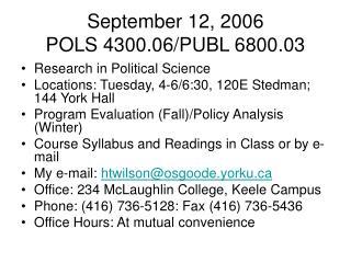 September 12, 2006 POLS 4300.06/PUBL 6800.03
