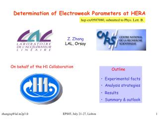 Determination of Electroweak Parameters at HERA