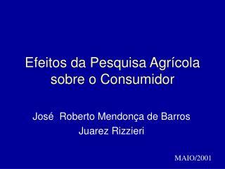 Efeitos da Pesquisa Agrícola sobre o Consumidor