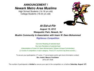 At Eid-ul-Fitr August 19, 2012 Weequahic Park, Newark, NJ