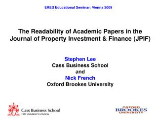 The Readability of Academic Papers in the Journal of Property Investment & Finance (JPIF)