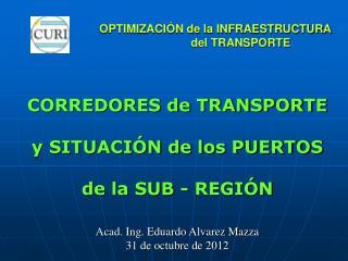 OPTIMIZACIÓN de la INFRAESTRUCTURA     del TRANSPORTE