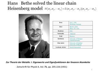 Zur Theorie der Metalle. I. Eigenwerte und Eigenfunktionen der linearen Atomkette