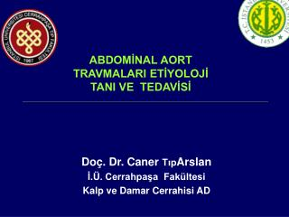Doç. Dr. Caner  Tıp Arslan İ.Ü. Cerrahpaşa  Fakültesi  Kalp ve Damar Cerrahisi AD