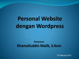 Personal Website dengan Wordpress
