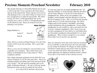 Precious Moments Preschool Newsletter            February 2010
