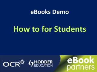 eBooks Demo How to for Students