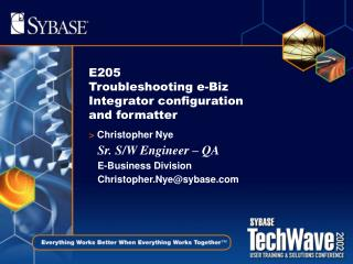 E205 Troubleshooting e-Biz Integrator configuration and formatter