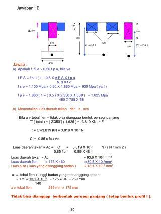 Jawab : a). Apakah f  S e > 0,50 f p u, bila ya f P S = f p u ( 1 – 0,5 X  A P S X f p u