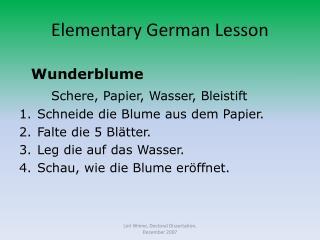 Elementary German Lesson