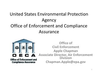United States Environmental Protection Agency Office of Enforcement and Compliance Assurance