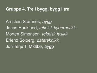 Gruppe 4, Tre i bygg, bygg i tre Arnstein Stamnes,  bygg Jonas Haukland,  teknisk kybernetikk