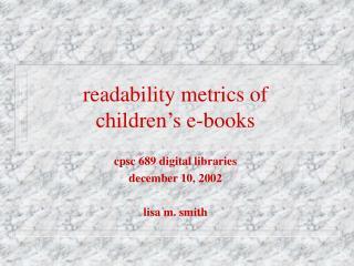 readability metrics of  children's e-books