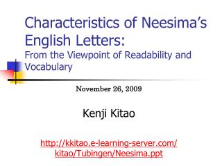 Characteristics of Neesima's English Letters: From the Viewpoint of Readability and Vocabulary