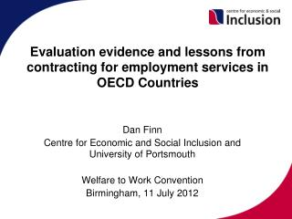 Evaluation evidence and lessons from contracting for employment services in OECD Countries