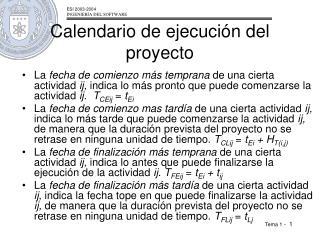 Calendario de ejecución del proyecto