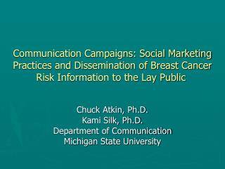 Communication Campaigns: Social Marketing Practices and Dissemination of Breast Cancer Risk Information to the Lay Publi