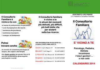 DIPARTIMENTO CURE PRIMARIE U.O. Pediatria e Consultorio Familiare