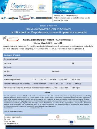 CAMERA DI COMMERCIO DI VITERBO – VIA F.LLI ROSSELLI, 4   Viterbo, 15 aprile 2013 -  ore 14,00