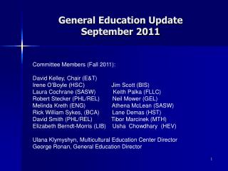 General Education Update September 2011