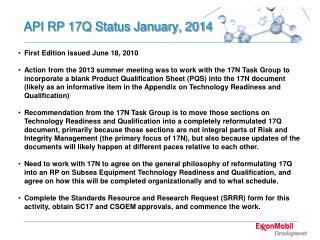API RP 17Q Status January, 2014