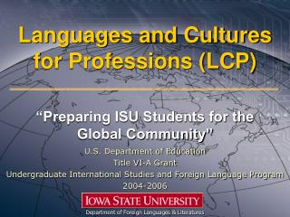 Languages and Cultures for Professions (LCP)