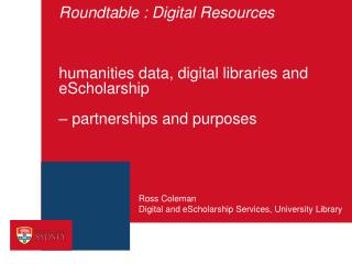 Digital and eScholarship Services, University Library