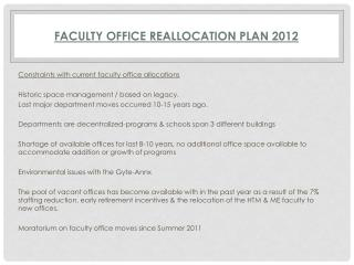 Faculty Office Reallocation Plan  2012
