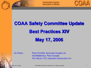 COAA Safety Committee Update Best Practices XIV May 17, 2006