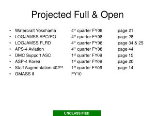 Projected Full & Open