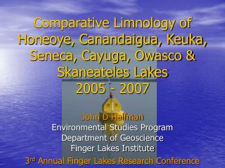John D Halfman Environmental Studies Program Department of Geoscience Finger Lakes Institute