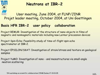 Basis HFR IBR-2   user policy   collaboration