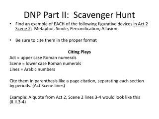 DNP Part II:  Scavenger Hunt