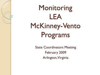 Monitoring  LEA  McKinney-Vento Programs