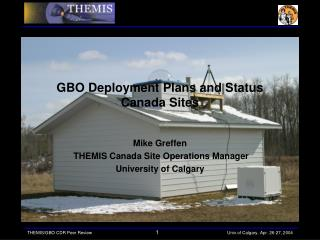 GBO Deployment Plans and Status  Canada Sites