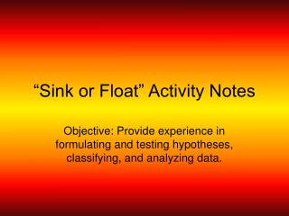 """Sink or Float"" Activity Notes"